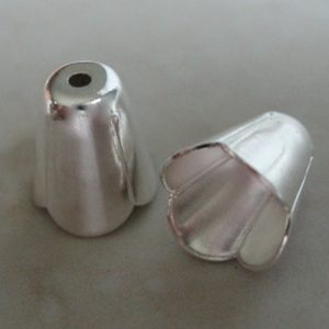 BEAD CAP 10X9MM LONG SILVER PLATED 346S