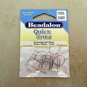 BEADALON SOLID QUICK LINKS RECTANGLE 10X18MM SILVER PLATED 14 PCE