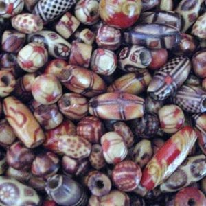 PRINTED AND POLISHED WOOD BEAD MIX PER 10GMS