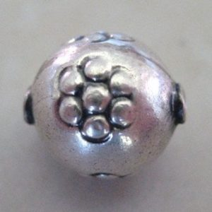 STERLING SILVER DOTTED FLOWER SPHERE 10X8 SSDF.108