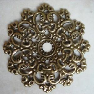 antiquebronzecircularflowerwrapconnector47mm