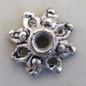 antiquesilverstarflowerbeadcap8mmassfc8