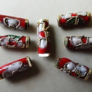 cloisonnetubewithgoldendsred10x4mm