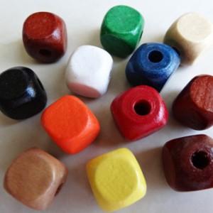 mixedcolourwoodencubebeads14mmbag100