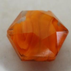 orangefacetedhexagonalglassbead14mm