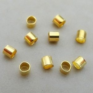 2X2MM LONG TUBE CRIMPS GOLD PLATED NICKEL FREE