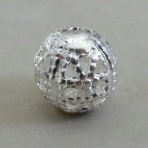 DOTTED FILIGREE ROUND SILVER PL 6MM