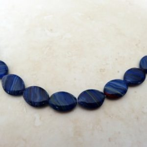 CZECH LAPIS BLUE STRIPED 16X12 OVAL BEAD STRAND