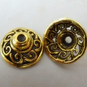 SCROLLED CUPPED BEAD CAP GOLD PL. 14MM