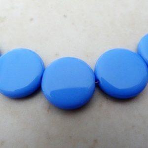 CZECH OPAQUE BLUE DISC BEADS 15MM PER STRAND
