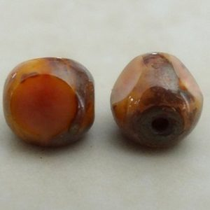 CZECH ANTIQUE TRIANGLE BEAD PICASSO PEACH 6MM