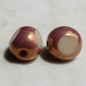 CZECH ANTIQUE GLASS TRIANGLE BEAD BRONZE CREAM 6MM