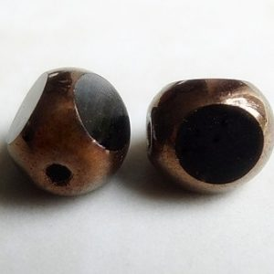 CZECH ANTIQUE TRIANGLE BEAD JET BRONZE 6MM