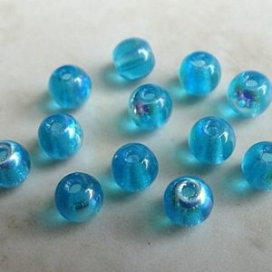 CZECH AQUAMARINE AB ROUND GLASS BEAD 4MM