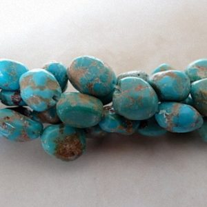 BLUE TURQUOISE NUGGETS 8MM G-STONE BEADS PER STRAND