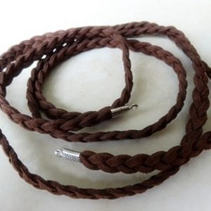 CHOCOLATE 6MM PLAIT SUEDE WITH ENDS 94CM