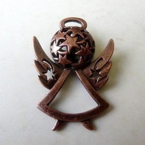 ANGEL PENDANT WITH STARS ANT COPPER 38MM
