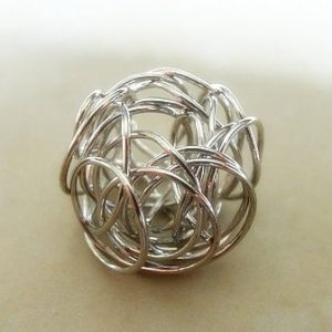 12MM (APPROX) WIRE COIL CAGE BEAD SLV PL