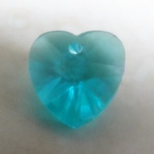ANTIQUE TEAL GREEN STAR CRYSTAL HEART 10MM (NON SW)