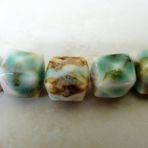 BROWN WHITE PINK&TEAL FACETED CUBE 14MM CERAMIC ST