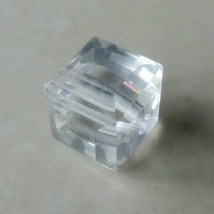 CZECH CRYSTAL AB  FACETED CUBE BEAD 10MM