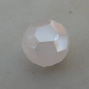 WHITE ALABASTER AB FACETED ROUND GLASS BEAD 6MM