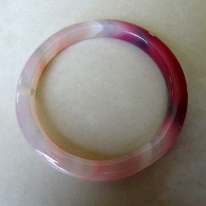 PINK AGATE ROUND GEMSTONE PENDANT FRAME 48MM 2