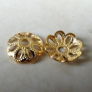 DOTTED PETAL BEAD CAP GOLD PLATED NICKEL FREE 9MM F633G