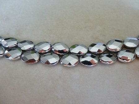 WHITE GOLD PLATED AGATE FACETED OVAL GMSTONE BEAD 15X10MM