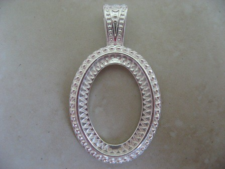 Silver Plated Rope Design Oval Pendant Setting For 40x30mm