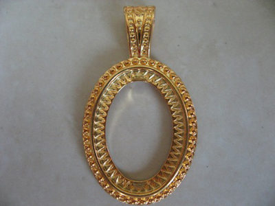 Gold finish brass oriental design pendant setting for 40x30 came gold plated rope design oval pendant setting for 25x18mm cameo c aloadofball Choice Image