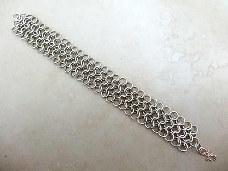 Heavy Flat Chain Maille Bracelet 18 Gauge 930 Sterling