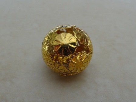 ORIENTAL FLORAL ROUND BEAD GOLD PLATED