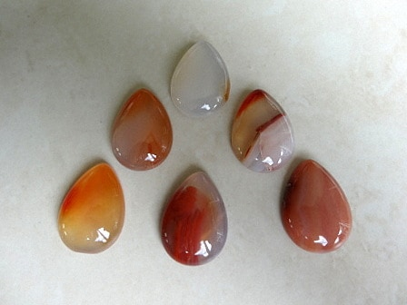 NATURAL CARNELIAN (DYED) CALIBRATED PEAR DROP CABOCHON 25X18X6MM